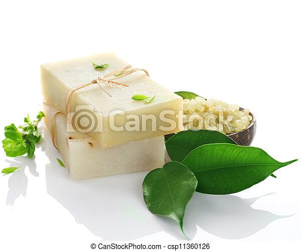 naturel, sur, fait main, blanc, savon - csp11360126
