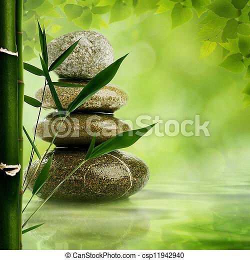 naturel, zen, feuilles, arrière-plans, conception, caillou, bambou, ton - csp11942940
