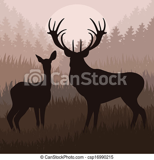 natuur, hertje, illustratie, regen, wild, geanimeerd, landscape - csp16990215