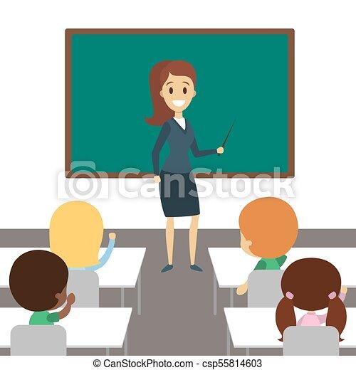 nauczyciel, classroom. - csp55814603