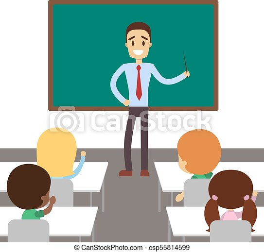 nauczyciel, classroom. - csp55814599