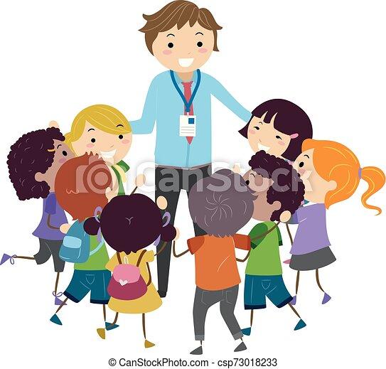 nauczyciel, dzieciaki, stickman, ulubieniec, ilustracja - csp73018233