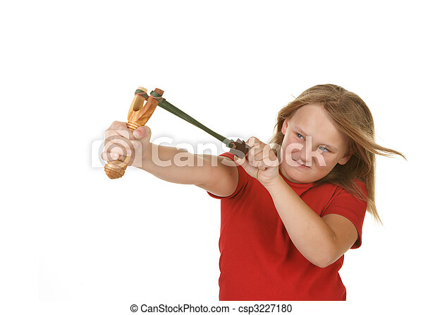 naughty little girl with a slingshot on white - csp3227180