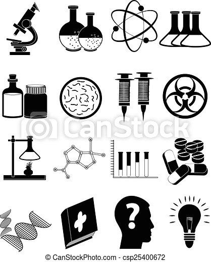 nauka, komplet, ikony - csp25400672