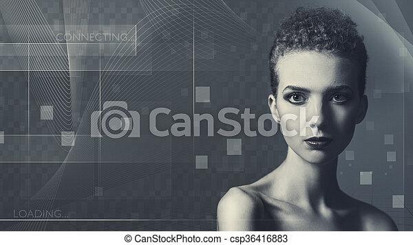 nauka, przyszłość, projektować, samica, portret, technologia, twój - csp36416883