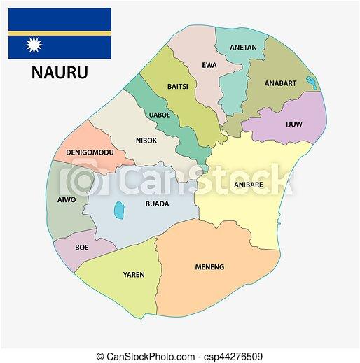 Nauru Administrative And Political Map Of Nauru Nauru Vector - Nauru map vector