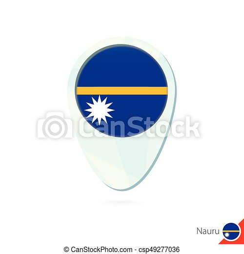 Nauru flag location map pin icon on white background vector