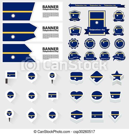 Nauru independence day, infographic, and label Set. - csp30260517