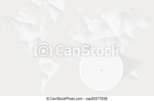 Nauru Map With Flag In Contour On White Polygonal World Map - Nauru map vector