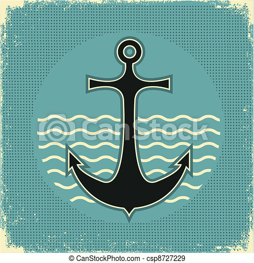 Nautical anchor.Vintage image on old paper texture - csp8727229