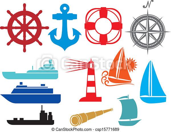 nautical and marine icons  - csp15771689