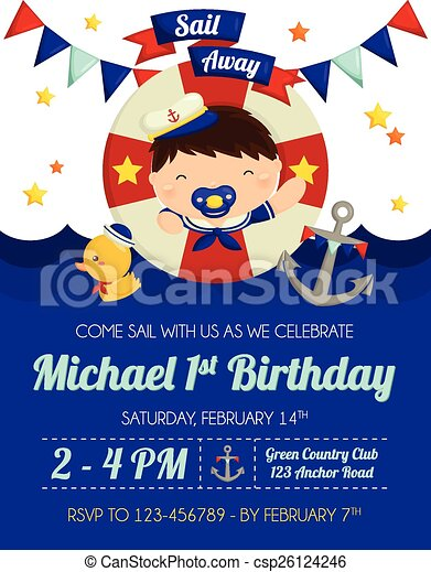 Nautical baby boy invitation nautical baby boy invitation csp26124246 stopboris Image collections
