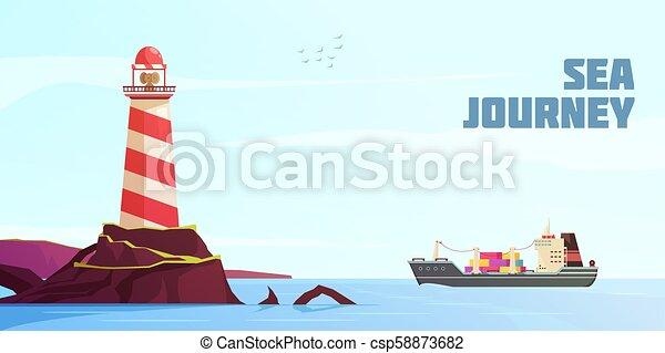 Nautical Cartoon Background - csp58873682