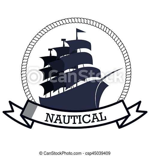 nautical frame with ship vector illustration design vector clipart rh canstockphoto com ship vector art ship vector art