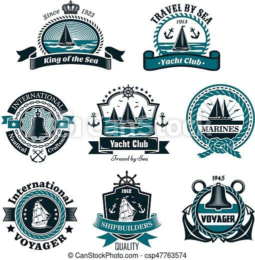 nautical icons and vector marine symbols set nautical and marine