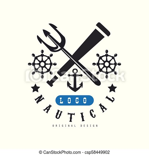 Nautical logo original design, retro emblem with marine elements for nautical school, club, business identity, print products vector Illustration on a white background - csp58449902