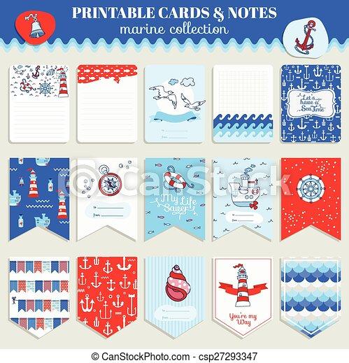 Nautical Sea Card Set - for scrapbook, wedding, party, design - in vector - csp27293347