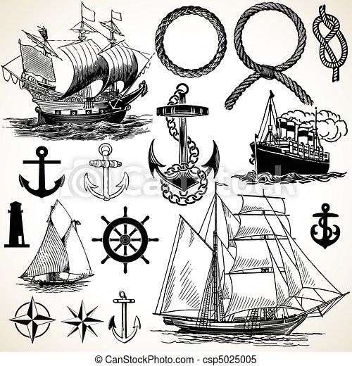 nautique, icône, ensemble - csp5025005
