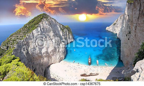 Navagio beach in Zakynthos, Greece - csp14367675