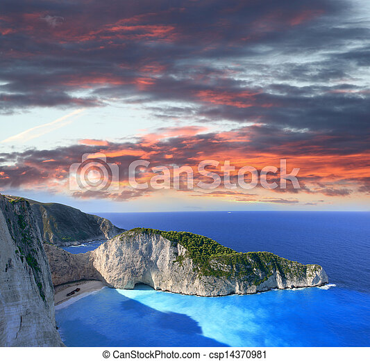 Navagio beach in Zakynthos, Greece - csp14370981