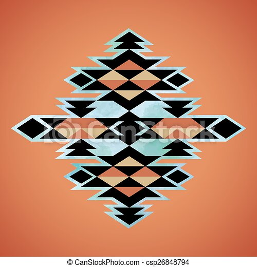 Navajo aztec textile inspiration pattern. Native american indian tribal  hand drawn art. - csp26848794