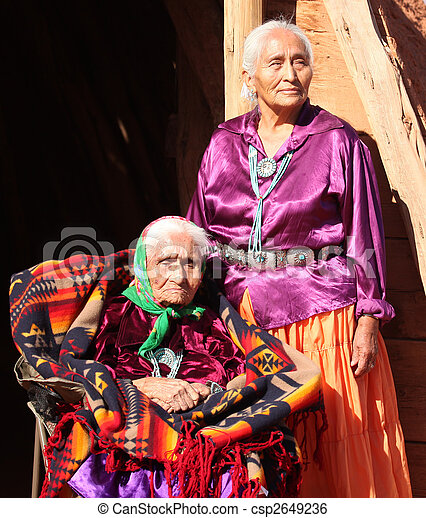 Navajo Wise Elderly Women Outdoors - csp2649236