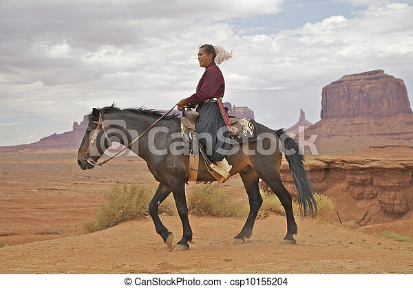 Navajo Woman on Horse - csp10155204
