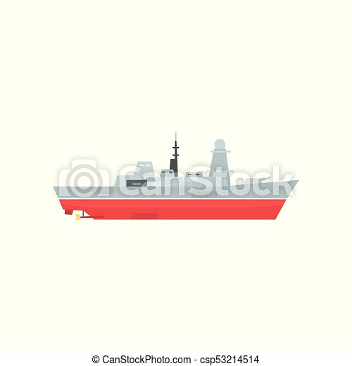 Naval armed ship with radar and antenna. Military boat with big cannon. Large army ship. Side view. Flat vector design for sticker, poster, mobile app - csp53214514
