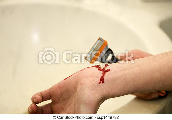 navalha, suicídio, tentar, mulher jovem, braço - csp1449732