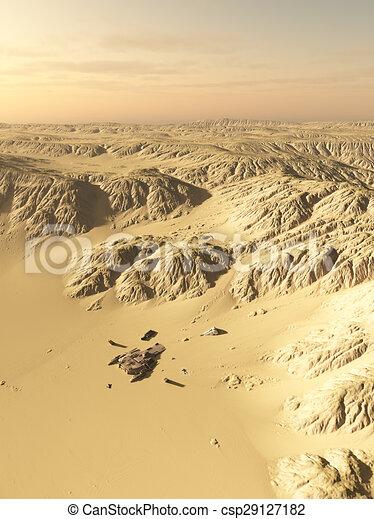 nave espacial, choque, sitio, desierto - csp29127182