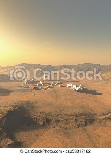 nave espacial, colonia, entregar, suministros, mundo, desierto - csp53017162