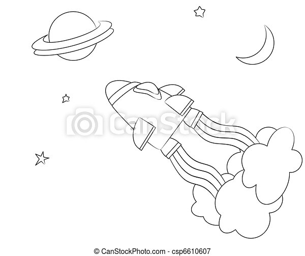 Nave espacial, colorante. Estilo, sheet., illusrtaion, space., nave ...