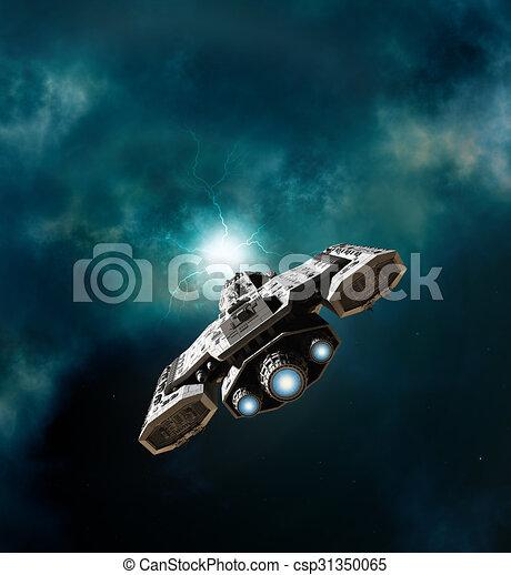 Nave espacial entrando en un agujero de gusano - csp31350065
