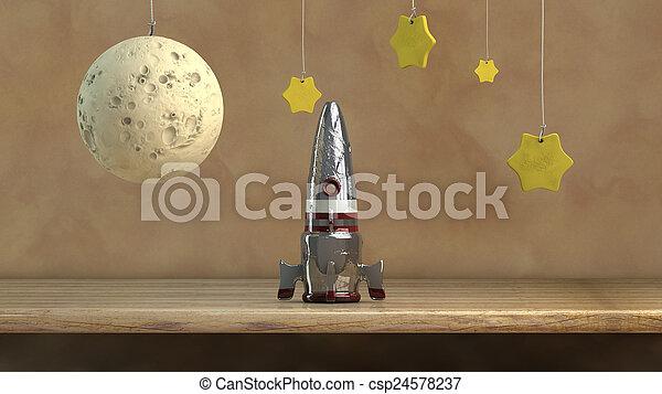 Nave espacial y estrellas - csp24578237