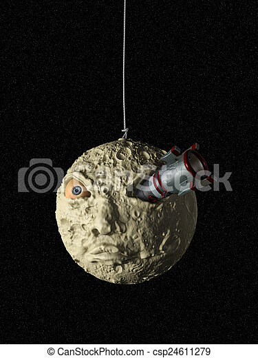 Nave espacial y luna - csp24611279