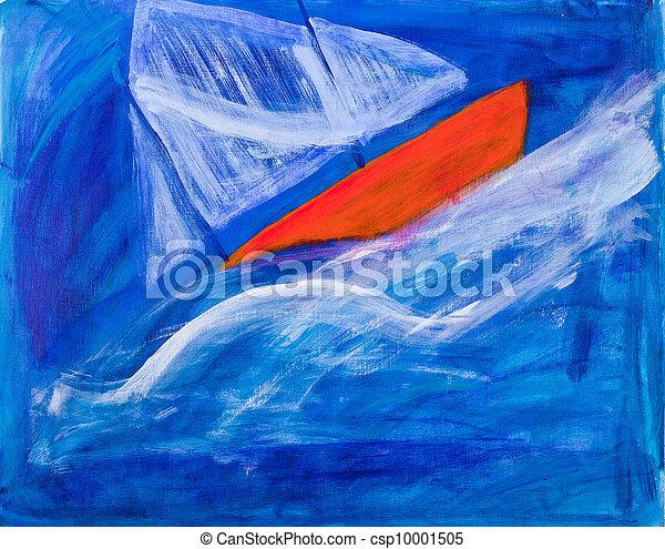 Pintura de barcos navegando - csp10001505