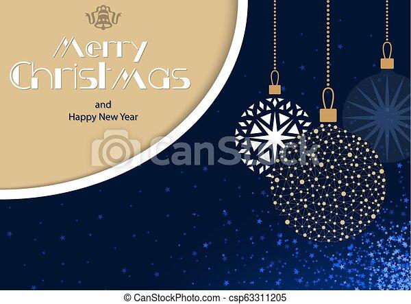 Tarjeta de Navidad con adornos colgando - csp63311205