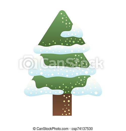 navidad, alegre, nieve, pino - csp74137530