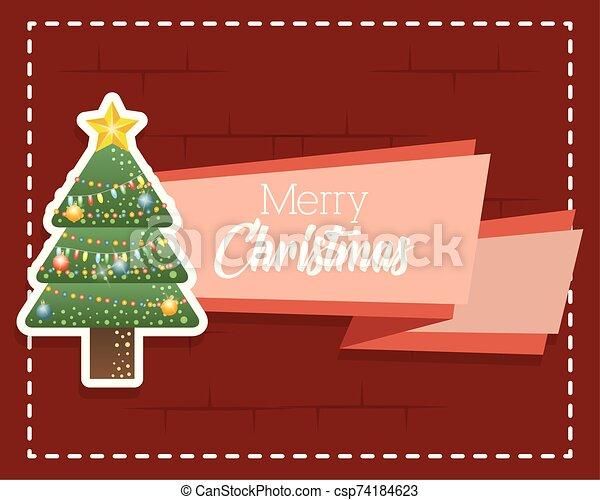 navidad, alegre, pino, tarjeta, árbol - csp74184623