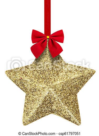 Estrella de Navidad colgando aislada en blanco - csp61797051