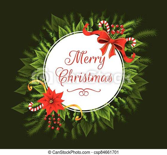 navidad, círculo, alegre, blanco, texto, details., adornado - csp84661701