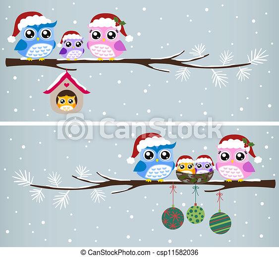 Celebración navideña de la familia Owl - csp11582036