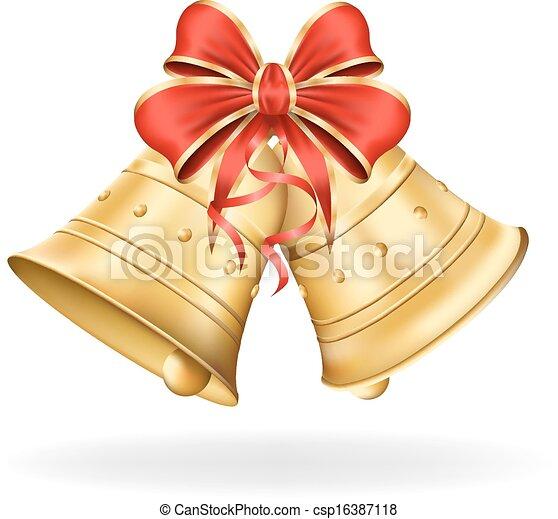 Campanas de Navidad con arco rojo en blanco. Decoraciones de Navidad. Ilustración de vector eps10 - csp16387118