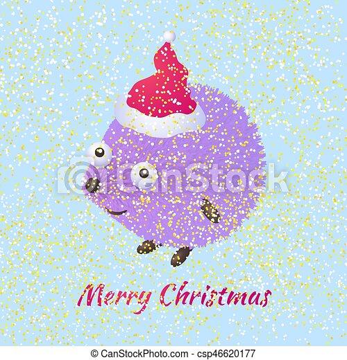 Erizo De Navidad Lindo Erizo De Dibujos Animados Felicita