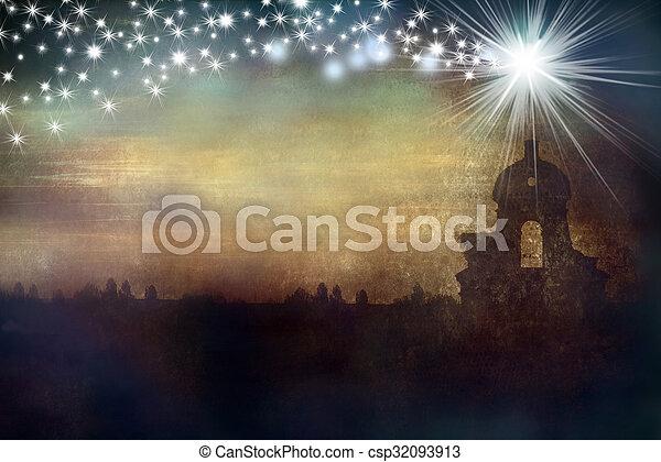 Iglesia y estrella de tarjetas de Navidad - csp32093913