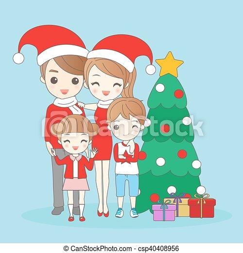 La familia de los dibujos de Navidad - csp40408956