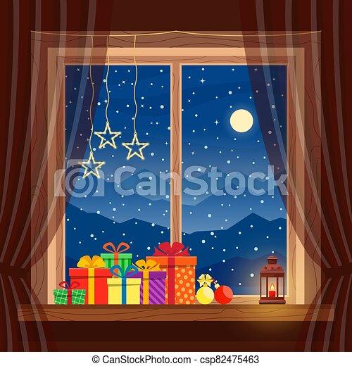 navidad, linterna, noche, azul, invierno, regalos, nieve, hogar, ventana, plano de fondo, luna, cómodo, vela, montañas, guirnaldas - csp82475463