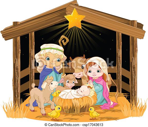 Santa familia en la noche de Navidad - csp17043613