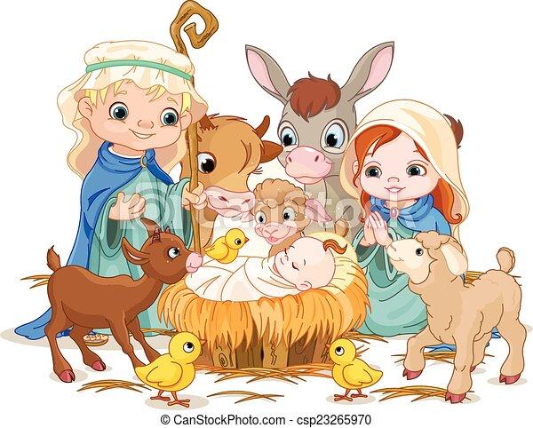 Santa familia en la noche de Navidad - csp23265970