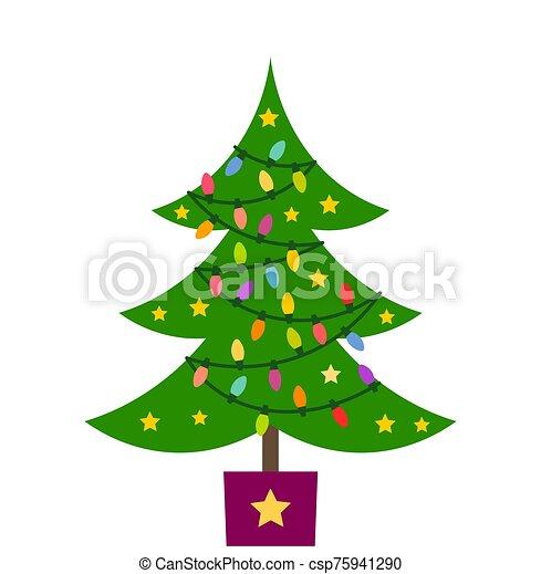 navidad, ornaments., luces, árbol - csp75941290